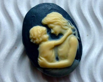 2 * cameo cabochon 18 * 25mm ca28 blue beige mother child