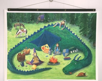Large Print, Fairy Tale Art, Knights and a Princess have a Picnic with a Dragon