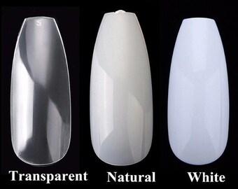 600pc nails, long coffin nails, long ballerina nails, Clear tips, clear false nails, clear false nails, do it at home kit, pamper nail
