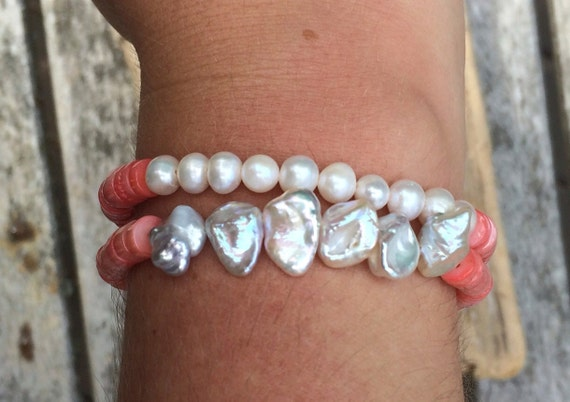 Genuine Pink Coral Healing Beads with Tiger Ebony Wood// BESOS JEWELRY by AMBER Beaded Bracelet// Stacking Bracelet// Nautical Bracelet