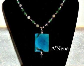 "Necklace- (For Women and Men) Genuine  Fire Agate, Hematite, Aventurine,  Fluorite & 925 Sterling Silver "" Waliq""  (Abundance in Quechua)"