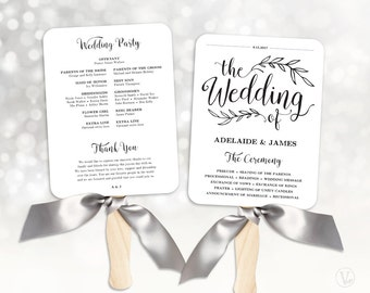 Wedding Fans Wedding Program Template Fan Wedding Program - 5x7 wedding program template