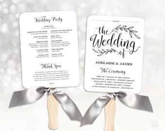 Printable Wedding Program Template, Fan Wedding Program, Kraft Paper Program, Editable text, 5x7, Wedding Calligraphy, VW01