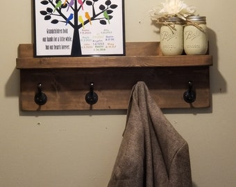 Rustic Wood Coat Rack with Shelf