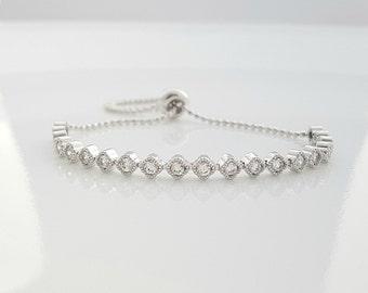 Wedding Bracelet, Crystal Bridal Bracelet, Simple Bracelet, Rose Gold, Gold, Bridesmaid Bracelet, Bangle Bracelet, Celia Bracelet