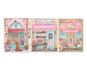 Personalized Cupcake, Patisserie, Ice Cream Shops, Set Of 3 Prints, Customize With Girl's Name, Pink Girls Wall Art, Teal Pink Kitchen Idea