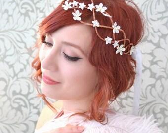 Wedding crown, bridal head piece, white flower circlet, floral wreath, hair accessories - Chantilly