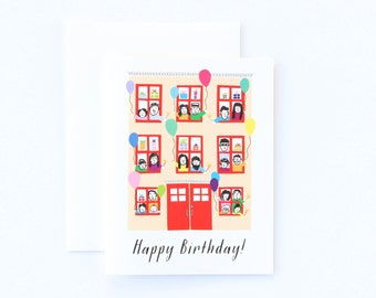 Birthday Card, Townhouse Card, Kids Birthday Card, NYC Birthday Card, Celebration Birthday Card
