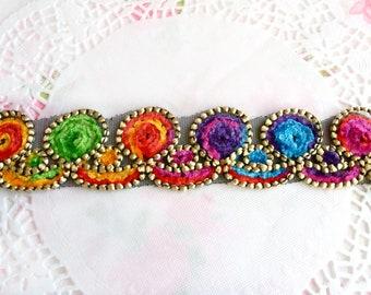 Embroidered Ribbon, Decorative Ribbon, Velvet Trim, Colorful Ribbon, Embroidered Trim, Velvet Ribbon, Decorative Trim, Sewing Ribbon 40mm