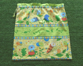 Large drawstring bag for library, kindy sheets or toys, bugs in the garden, kids drawstring bag