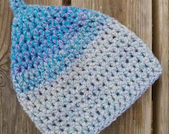 Pixie hood blue crochet pointy baby 3-6 months