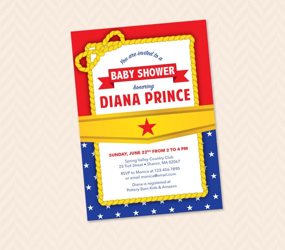 Printable Wonder Woman Themed Baby Shower Invitation Wonder