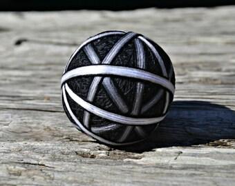 Black and White Temari Ball, Modern Japanese Ball, Shades of Grey Temari Ball, Japanese Folk Art, Ball Ornament, Christmas Temari Ornament