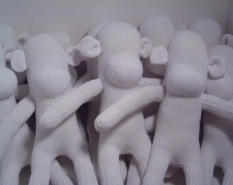 Just One All White Blank Sock Monkey Ready to be Decorated~ Great for Easter Basket