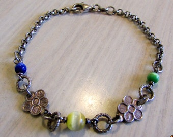 Sterling Silver Link Bracelet with Fiber Optic Beads