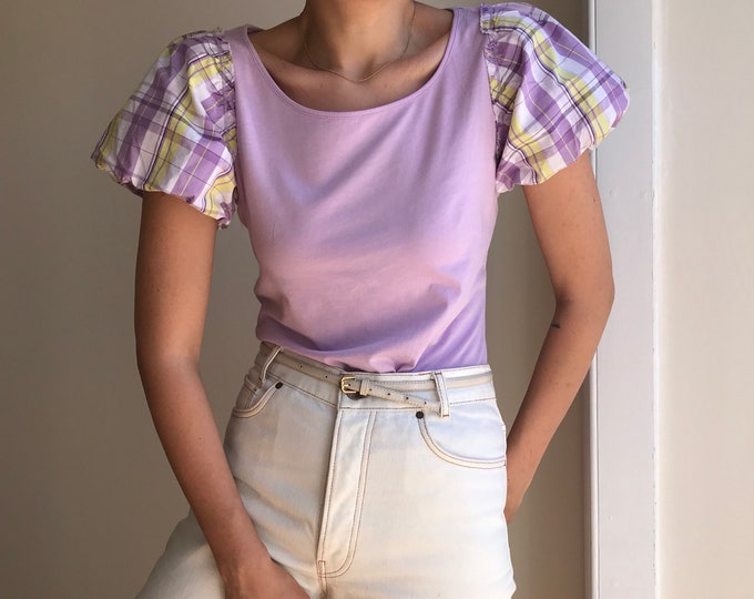 Contemporary Lilac Puff Sleeve Top