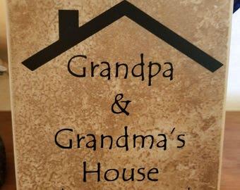 Grandma & Grandpa's House tile decor, tile quote, mantle decor, tile quote decor