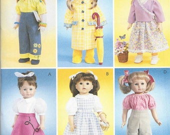 """18"""" Doll Clothes Sewing Pattern Uncut Factory Folded Crafts McCall's 4066 - Raincoat, Poodle Skirt, Blouse, Pants, Jumper, Hat, Boots"""