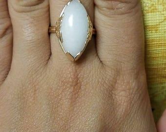 14K mings white marquise white jade ring