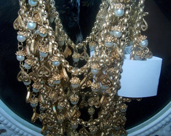 """Vintage Costume Jewelry, 3 Strand Necklace, Goldtone Hearts & Pearls, Inside Strand 15"""""""