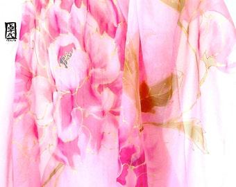 Silk shawl for gift, Hand Painted Silk Shawl Wrap, Pink Peonies, Japanese Silk Chiffon Wrap, Pink Floral Scarf, Silk Takuyo, Made to order.