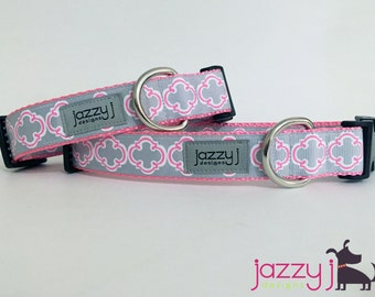 Grey and Pink Bristol Tile Dog Collar