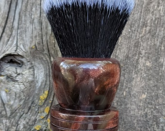 The Portly in Red and Smoke Resin shave brush