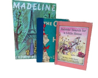 Vintage Nursery Book Trio / Madeline / The Cat in the Hat / Rabbits' Search for a Little House / Hardback