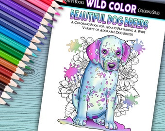 Beautiful Dog Breeds - Adult Coloring Book 32 pages - Printable Instant Download PDF