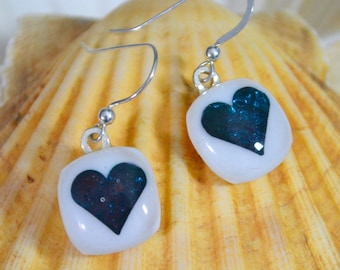 Glass Heart Earrings Opaque Milk White  Art Glass and Encased Teal Blue Hearts Drop/ Dangly Sterling Silver Hook Wires and Gift Boxed