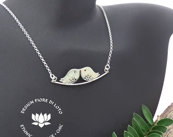 Silver Love Birds Necklace Sterling Silver Pendant silver Bird chain Romantic Jewelry Love birds Wedding Jewelry Ornithology Gift for her