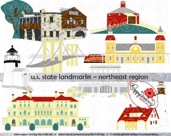 U.S. State Landmarks Northeast Region Digital Clip Art: Maine Vermont New Hampshire Massachusetts Rhode Island New York Connecticut Travel
