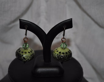 Lime Green Enamelled Iron Earrings with Swarovski Crystal Bicones