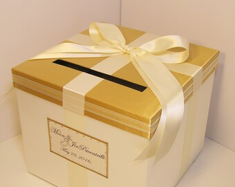 Wedding  Card Box Gold and Ivory Gift Card Box Money Box Holder-Customize your color