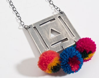 pompom square necklace