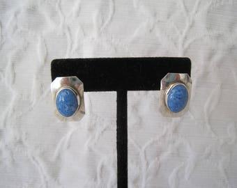 Lovely Blue Denim Lapis Earrings Sterling Silver Native American