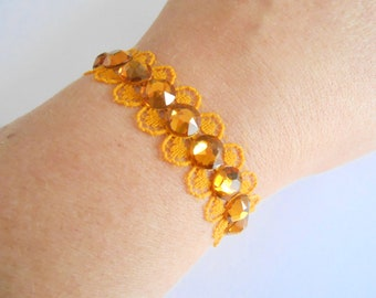 Yellow lace and Crystal bracelet