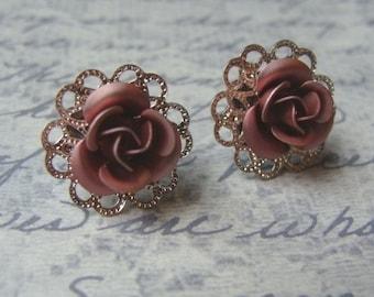 Little Rose Filigree Earrings