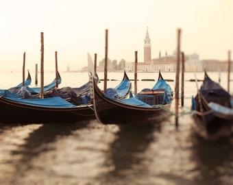 Venice Italy Gondola Photography, Italian Fine Art Photograph, Water, Boats, Wall Art, Home Decor, Vintage, Blue  - Gondolas of San Giorgio