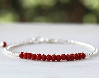 bracelets for women 925 sterling silver beads and Red quartz gemstones