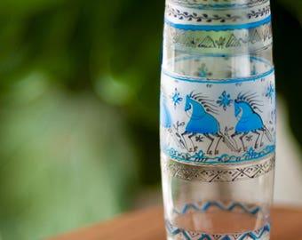 Bud Vase - Hand painted - blue horses