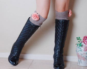 Gift for her!Beautiful Leg Warmers.Birthday gift for her. Brown leg warmers with orange flowers leg warmers ,boots long cuffs,