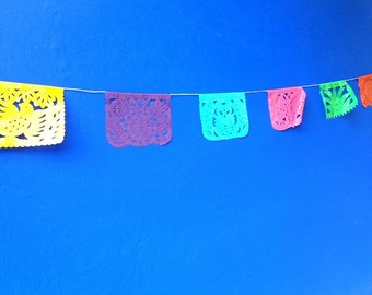 plastic picado, mexican banner, rectangle bunting, mexican party decor X