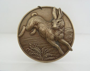 RABBIT Pendant  -  Large Brass Stamping -  Victorian Pendant - DIY Necklace