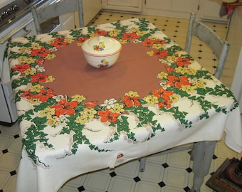 Vintage Startex Tablecloth Lilies & Daffodils MWT Retro Kitchen Floral Table Cloth