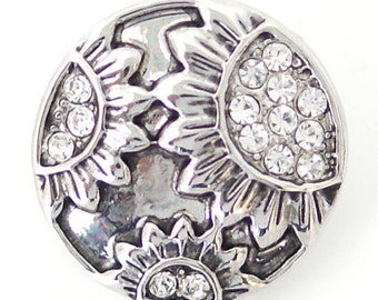 1 PC 18MM White Sunflower Silver Candy Snap Charm ds5124 CC1617