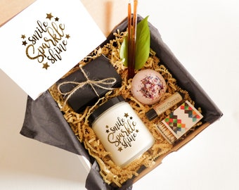 Encouragement Gift Box for Friend Natural Gift Set for Daughter Beauty Gift Set Bath Gift Set Spa Gift Set Natural Candle Gift Inspiration
