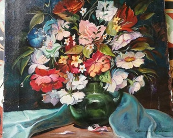 Vintage Oil Painting, French Floral Painting, Large Floral Painting, Florals On black, Signed Oil Painting, Floral Oil Canvas, Canvas Art