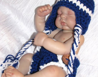 Baby Boy FOOTBALL Team Hat and Diaper Cover Set - Earflap Hat - Photo Prop - You choose team colors - NO Logo - Made to ORDER