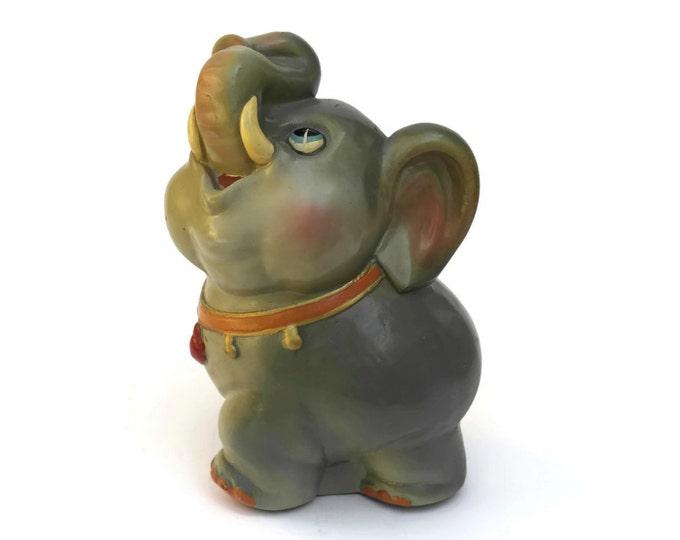 Vintage Elephant Coin Bank. Ceramic Money Box. Nursery Decor. Baby Elephant Figure Money Bank.